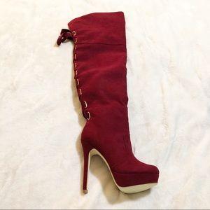 Shoedazzle | Over knee faux suede high heel boot